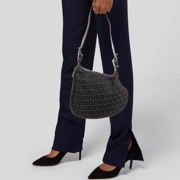 Fendi Oyster Black Zucchino Monogram Saddle Bag